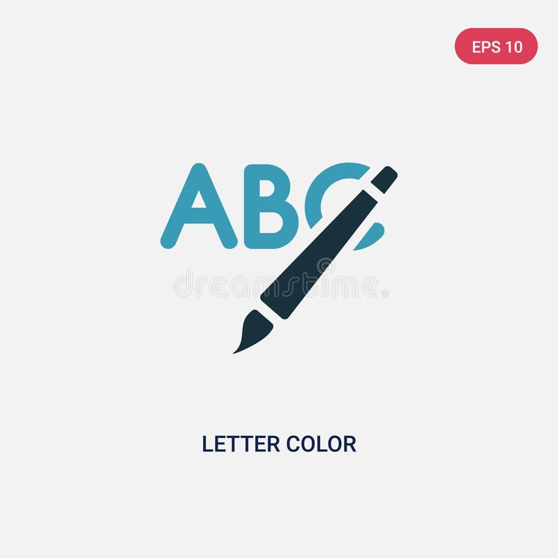 Icono bicolor del vector del color de la letra del concepto social el s?mbolo azul aislado de la muestra del vector del color de  stock de ilustración