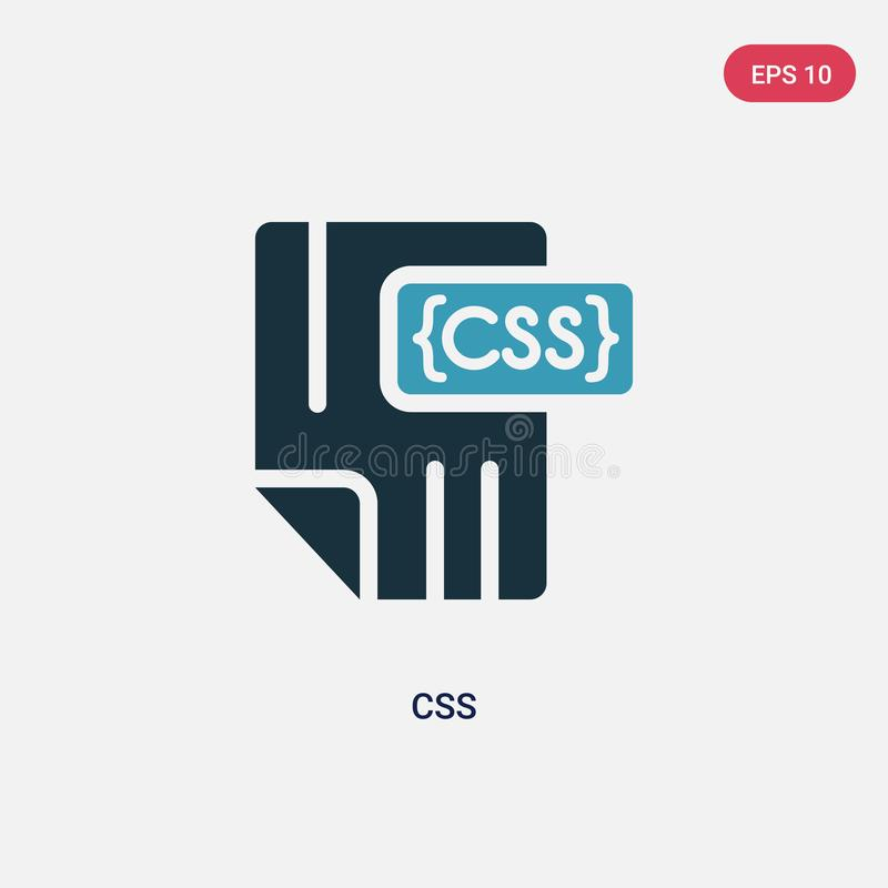 Icono bicolor del vector del css del concepto de programación el símbolo azul aislado de la muestra del vector del css puede ser  ilustración del vector