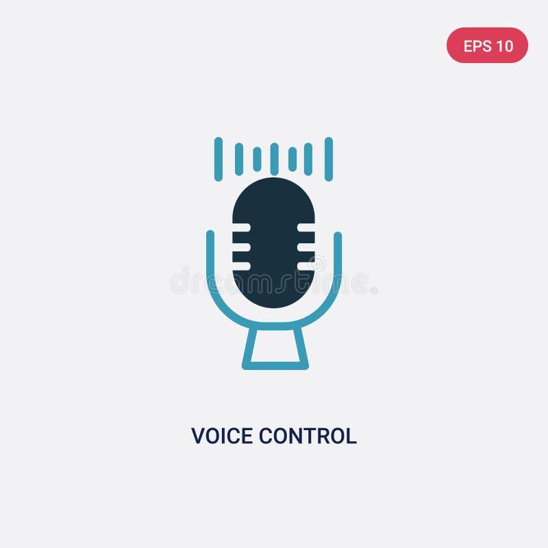 Icono bicolor del vector de control de la voz del concepto elegante de la casa el símbolo azul aislado de la muestra del vector d stock de ilustración