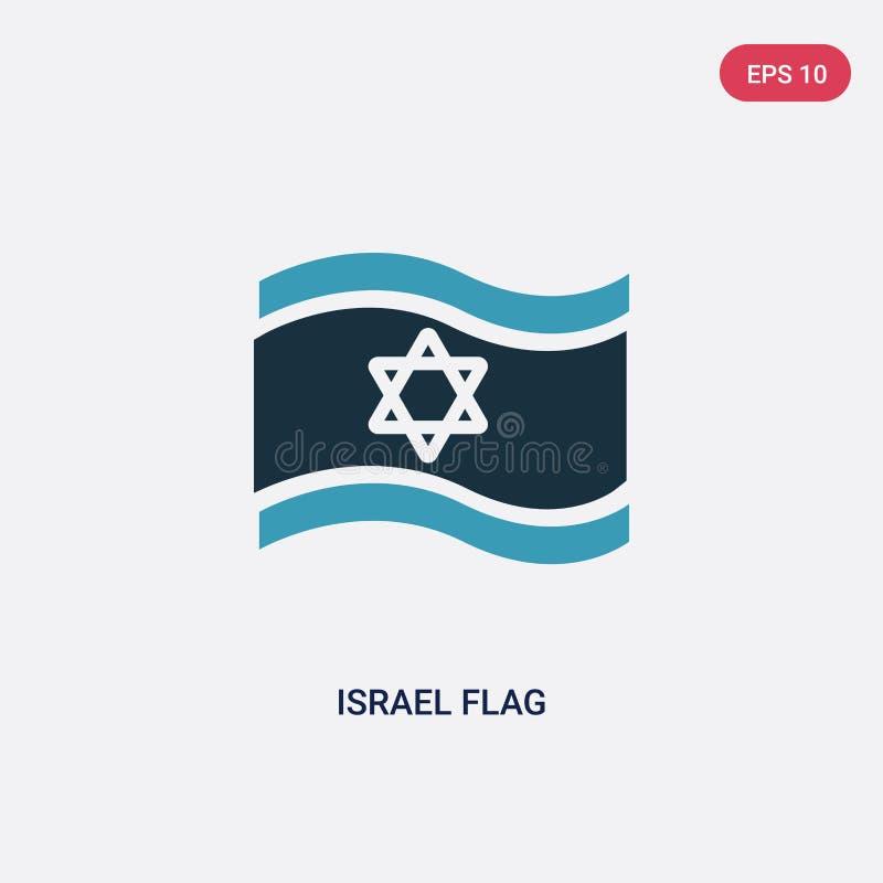 Icono bicolor del vector de la bandera de Israel del concepto de la religión el símbolo azul aislado de la muestra del vector de  stock de ilustración