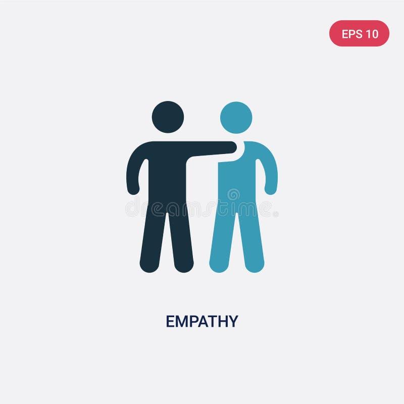 Icono bicolor del vector de la empatía del concepto de las habilidades de la gente el símbolo azul aislado de la muestra del vect ilustración del vector