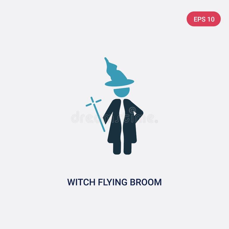 Icono bicolor del vector de la escoba del vuelo de la bruja del concepto de la gente el símbolo azul aislado de la muestra del ve stock de ilustración