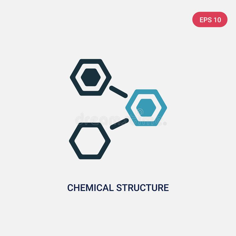 Icono bicolor del vector de la estructura química del concepto de la naturaleza el símbolo azul aislado de la muestra del vector  ilustración del vector