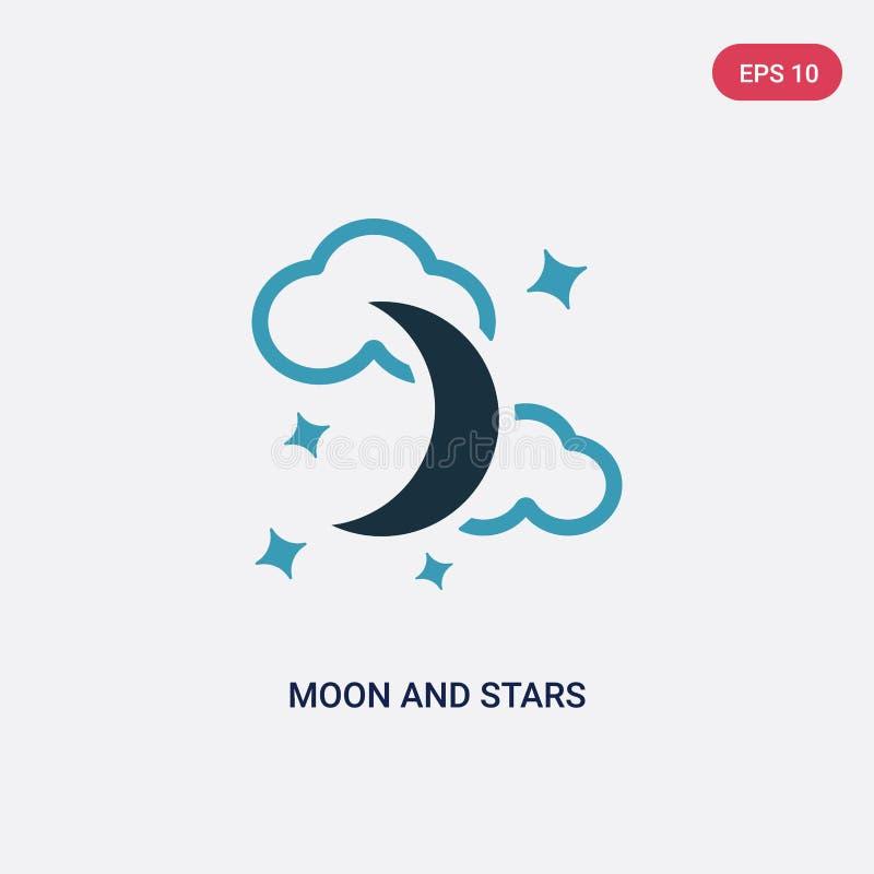 Icono bicolor del vector de la luna y de las estrellas del concepto de las formas el símbolo aislado de la muestra del vector de  libre illustration