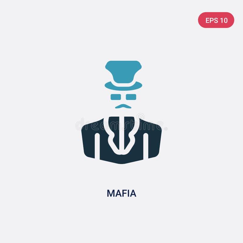 Icono bicolor del vector de la mafia del concepto de las profesiones el símbolo azul aislado de la muestra del vector de la mafia stock de ilustración