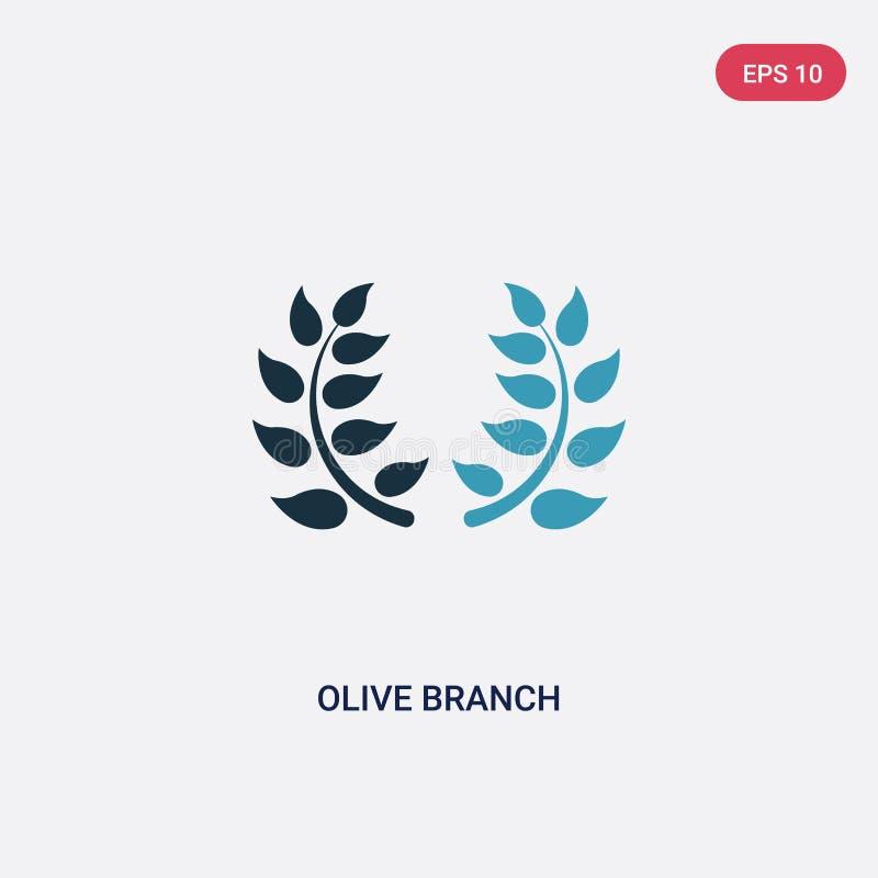 Icono bicolor del vector de la rama de olivo del concepto de la religión el símbolo azul aislado de la muestra del vector de la r stock de ilustración
