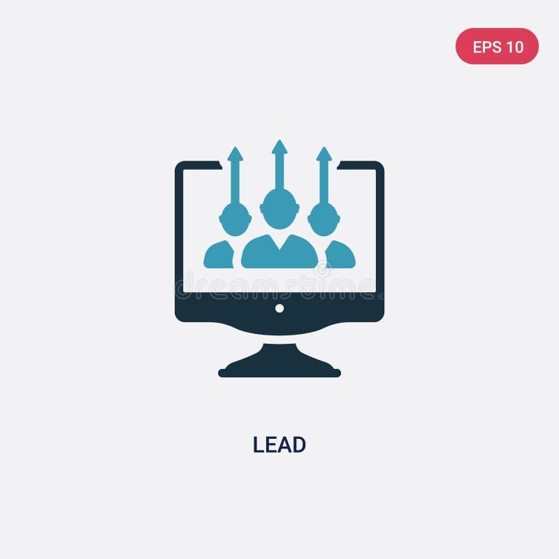 Icono bicolor del vector de la ventaja del concepto del seo y de la web el símbolo azul aislado de la muestra del vector de la ve libre illustration