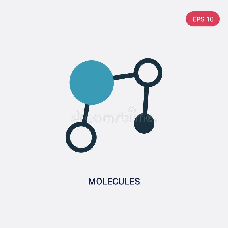 Icono bicolor del vector de las moléculas del concepto de la ciencia el símbolo azul aislado de la muestra del vector de las molé libre illustration
