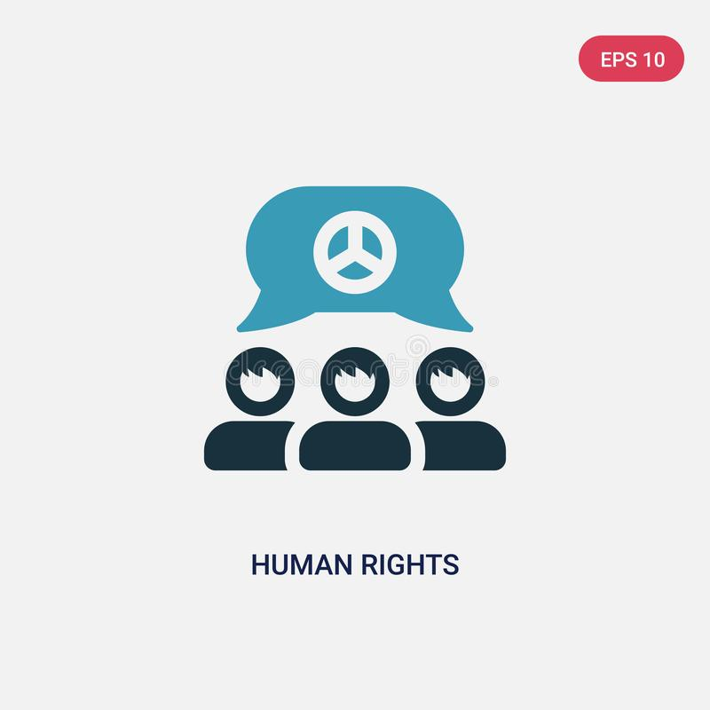 Icono bicolor del vector de los derechos humanos del concepto político el símbolo azul aislado de la muestra del vector de los de ilustración del vector