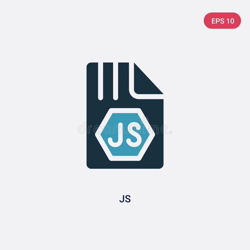 Icono bicolor del vector de los js del concepto de programación el símbolo azul aislado de la muestra del vector de los js puede  stock de ilustración