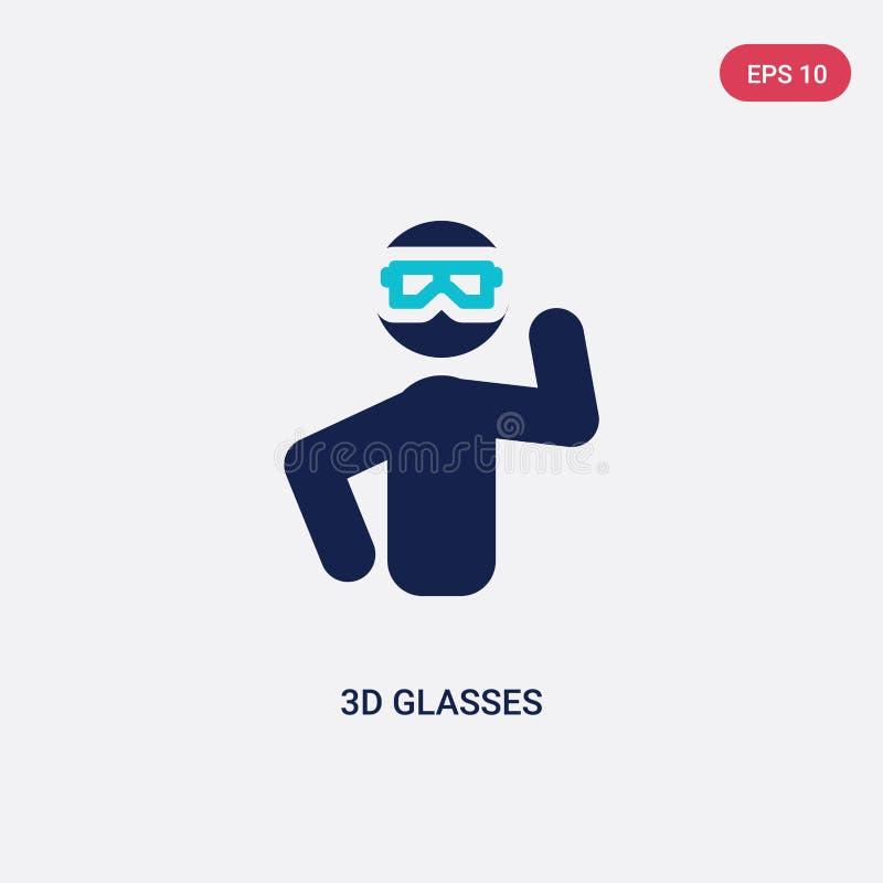 icono bicolor del vector de los vidrios 3d del concepto de las actividades al aire libre el símbolo azul aislado de la muestra de libre illustration
