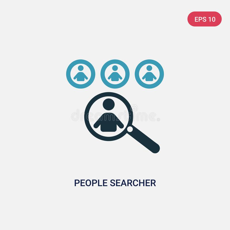Icono bicolor del vector del investigador de la gente del concepto de la gente el símbolo azul aislado de la muestra del vector d ilustración del vector