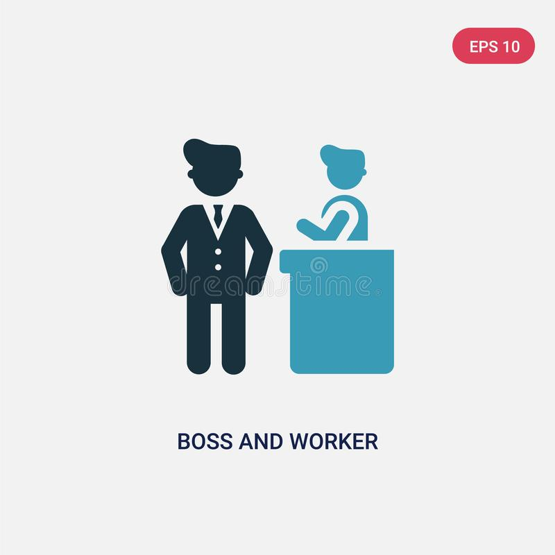 Icono bicolor del vector del jefe y del trabajador del concepto de la gente el símbolo azul aislado de la muestra del vector del  stock de ilustración