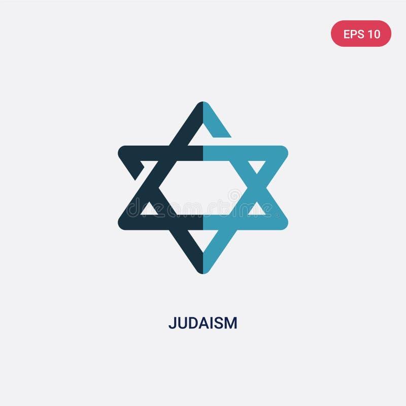 Icono bicolor del vector del judaísmo del concepto de la religión el símbolo azul aislado de la muestra del vector del judaísmo p ilustración del vector