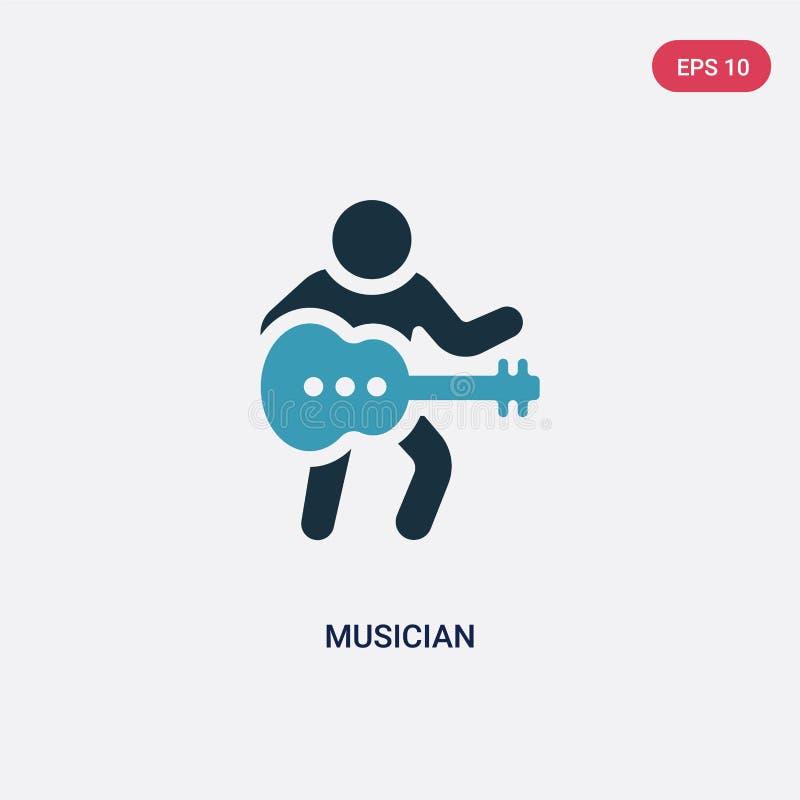 Icono bicolor del vector del músico del concepto de las habilidades de la gente el símbolo azul aislado de la muestra del vector  ilustración del vector