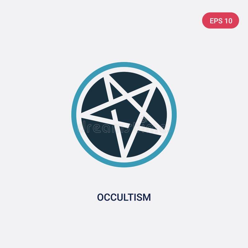 Icono bicolor del vector del ocultismo del concepto de la religión el símbolo azul aislado de la muestra del vector del ocultismo libre illustration