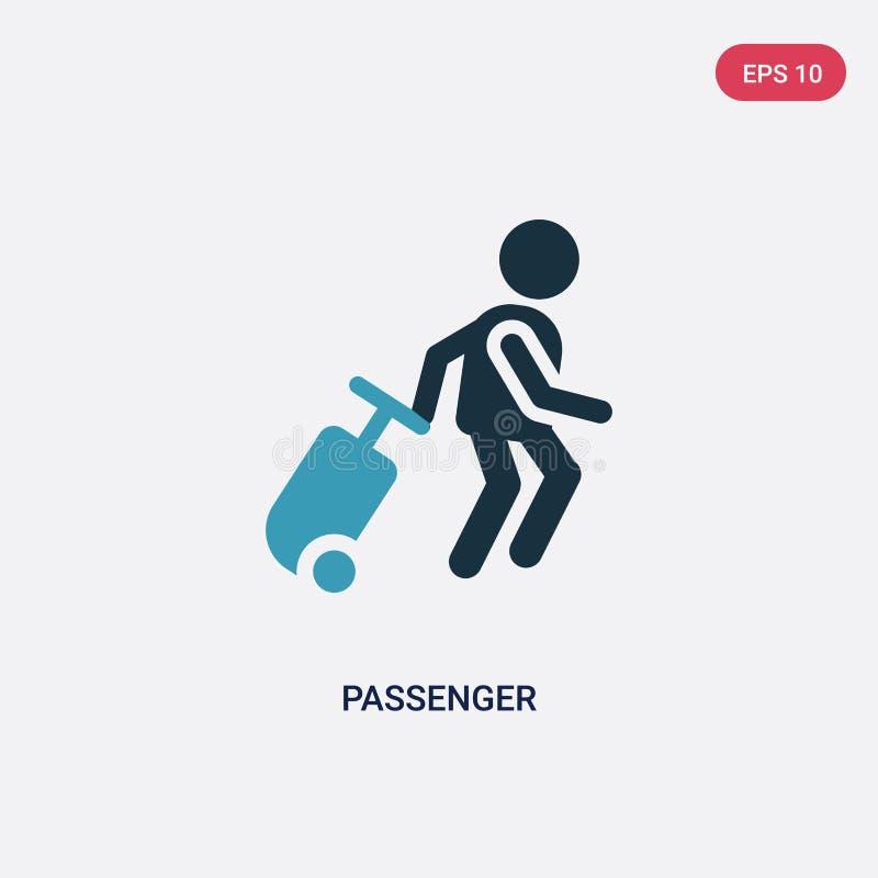 Icono bicolor del vector del pasajero del concepto de la gente el símbolo azul aislado de la muestra del vector del pasajero pued ilustración del vector