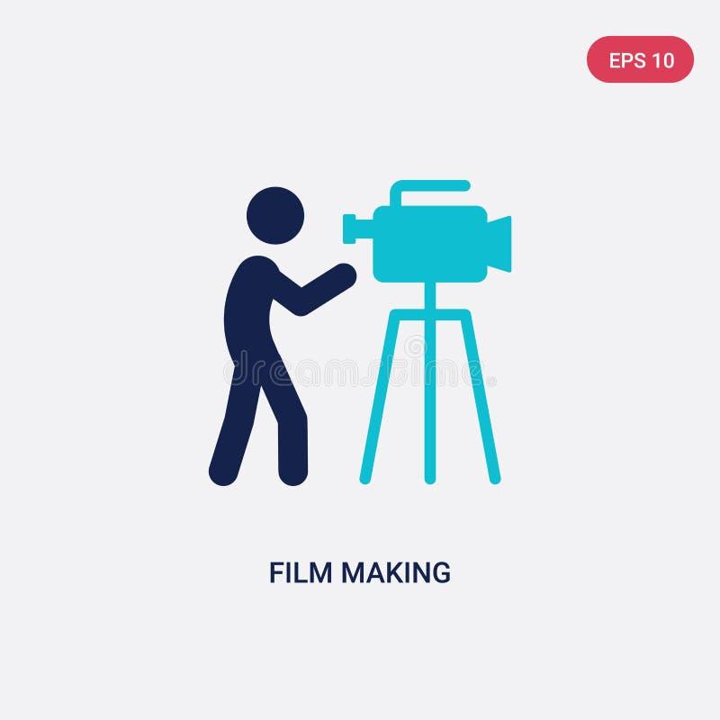 icono bicolor del vector del rodaje de películas de la actividad y del concepto de las aficiones el símbolo azul aislado de la mu ilustración del vector