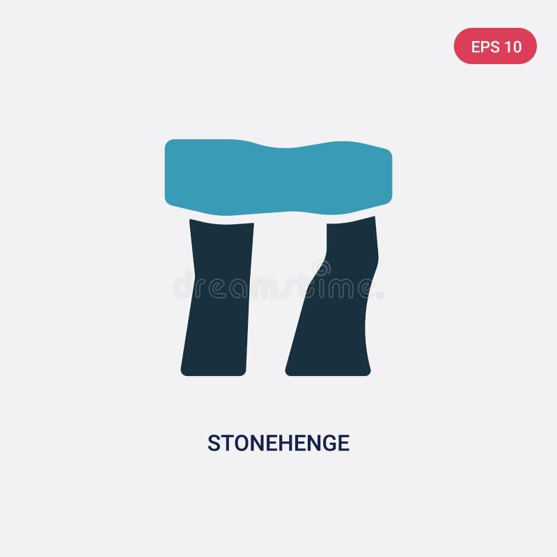 Icono bicolor del vector del stonehenge del concepto de la Edad de Piedra el s?mbolo azul aislado de la muestra del vector del st stock de ilustración