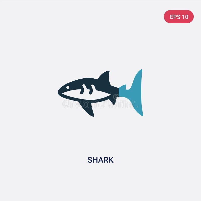 Icono bicolor del vector del tiburón del concepto náutico el símbolo aislado de la muestra del vector del tiburón azul puede ser  ilustración del vector