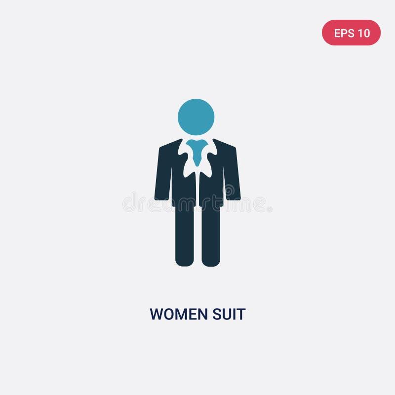 Icono bicolor del vector del traje de las mujeres del concepto de la gente el símbolo azul aislado de la muestra del vector del t stock de ilustración