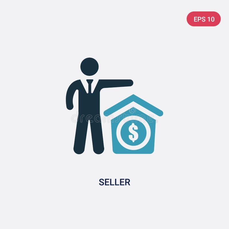 Icono bicolor del vector del vendedor del concepto de las habilidades de la gente el símbolo azul aislado de la muestra del vecto libre illustration