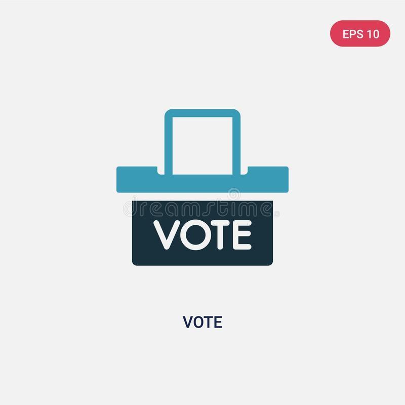 Icono bicolor del vector del voto del concepto político el símbolo azul aislado de la muestra del vector del voto puede ser uso p ilustración del vector