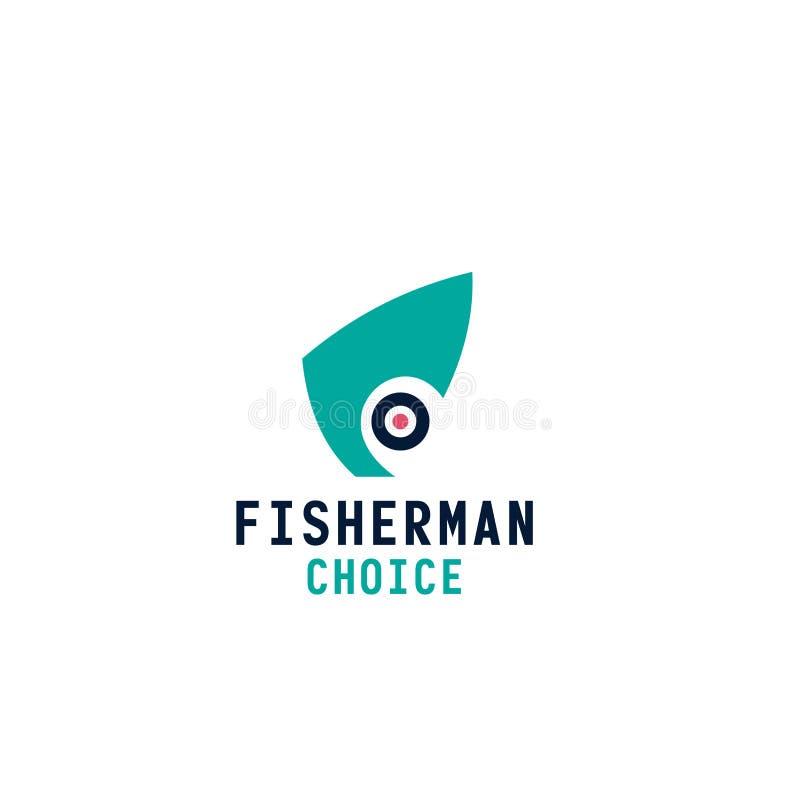 Icono bien escogido de la letra F del vector del pescador ilustración del vector