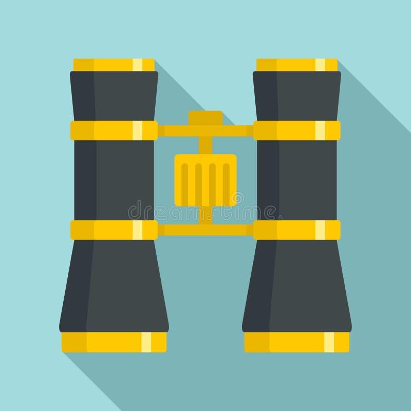 Icono binocular del teatro, estilo plano stock de ilustración
