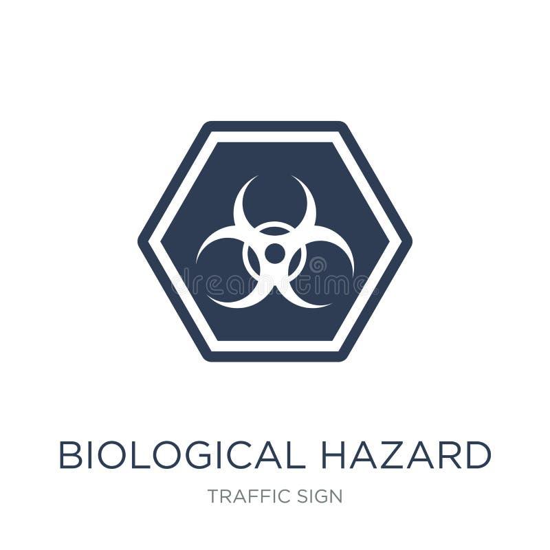 Icono biológico de la muestra de peligro Hazar biológico del vector plano de moda libre illustration