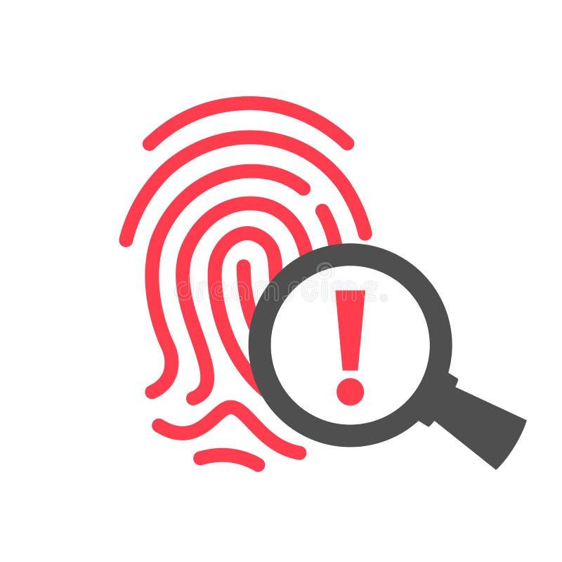 Icono biométrico del vector de la alarma de seguridad ilustración del vector