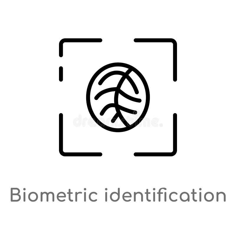 icono biométrico del vector de la identificación del esquema línea simple negra aislada ejemplo del elemento del concepto ciberné stock de ilustración