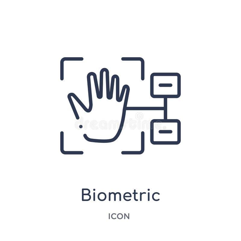 Icono biométrico linear de la identificación de la colección cibernética del esquema Línea fina vector biométrico de la identific libre illustration