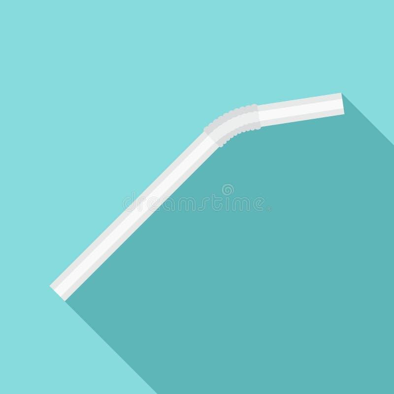 Icono blanco de la paja de la bebida, estilo plano ilustración del vector