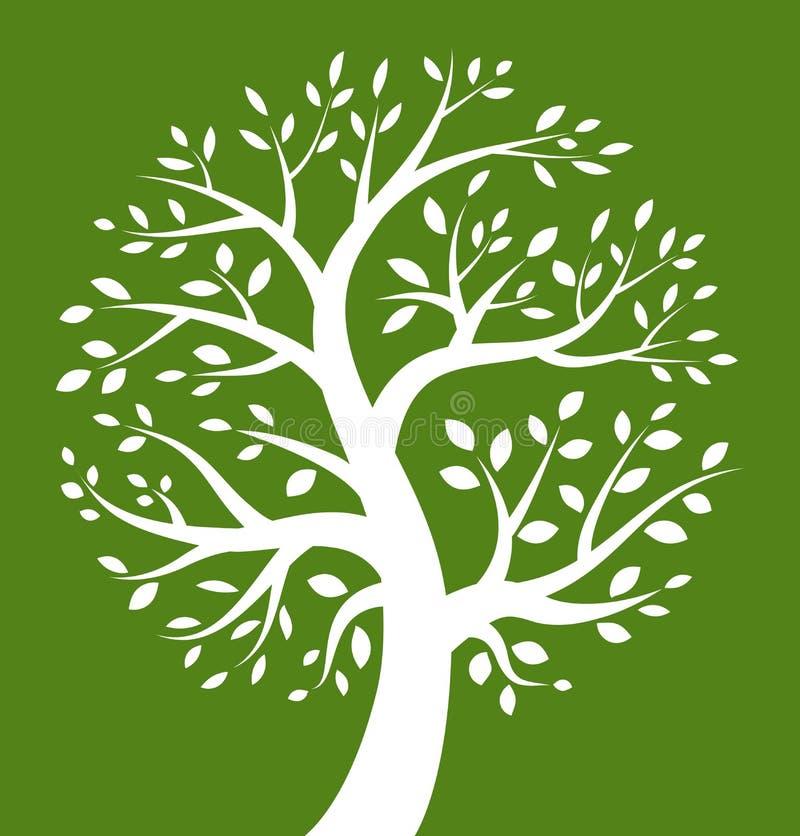 Icono blanco del árbol en fondo verde libre illustration
