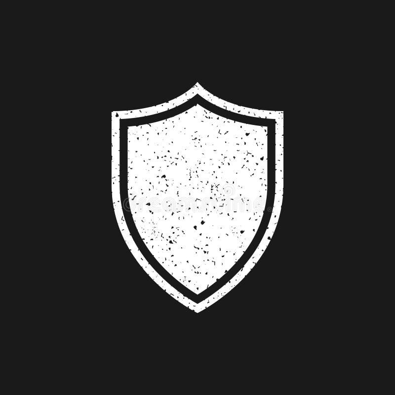 Icono blanco del escudo del grunge en fondo negro Ilustración del vector ilustración del vector