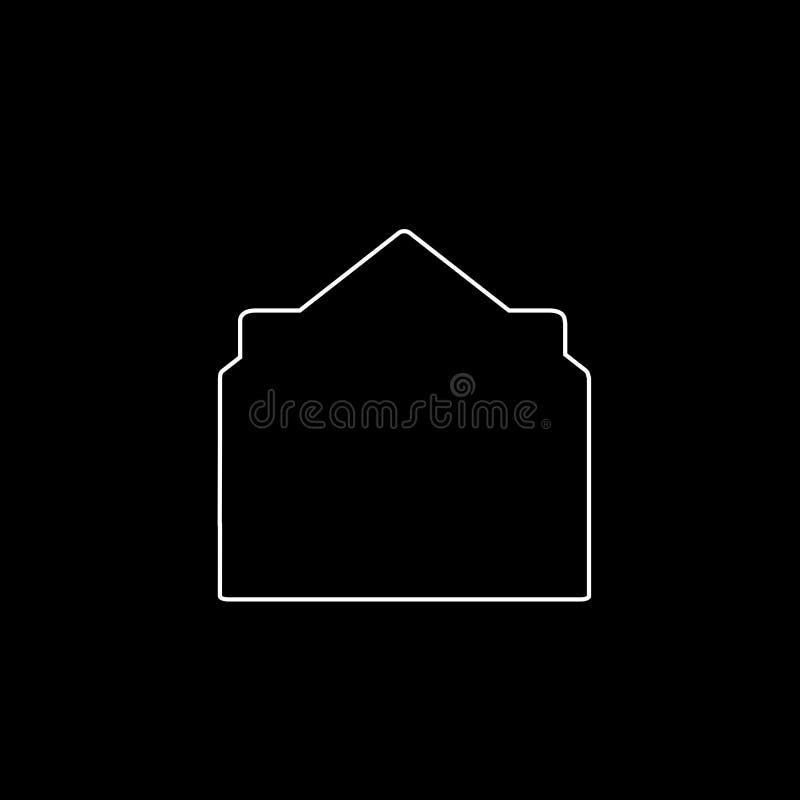 Icono blanco del esquema del sobre abierto con el documento en fondo negro stock de ilustración