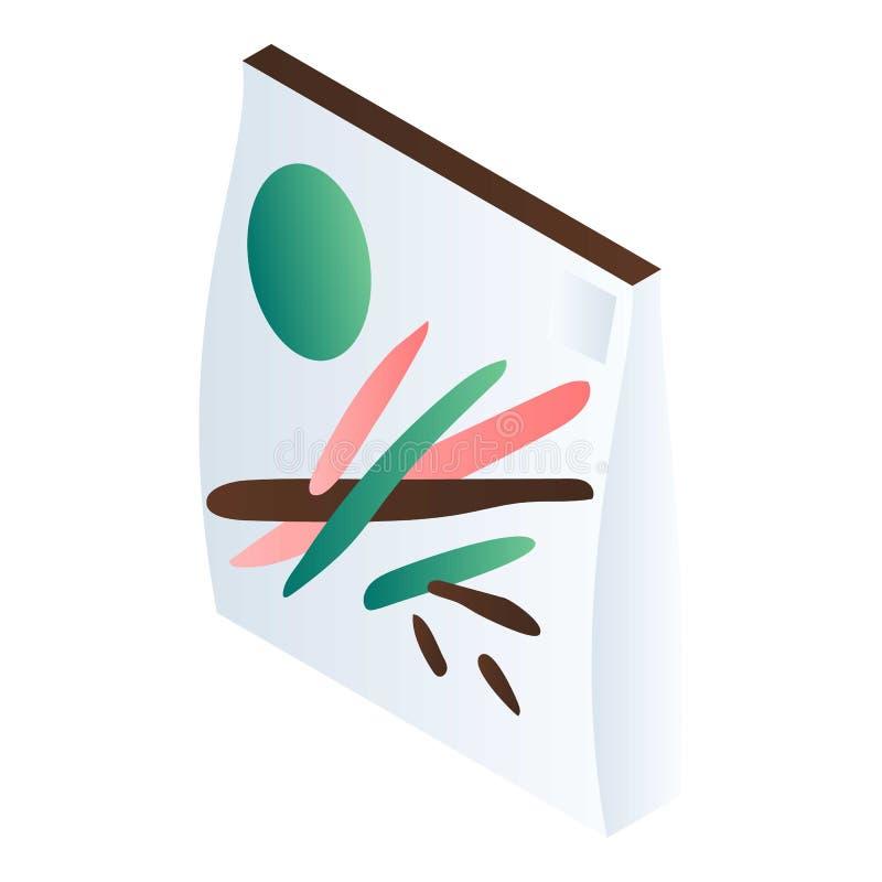 Icono blanco del paquete del bocado, estilo isométrico ilustración del vector