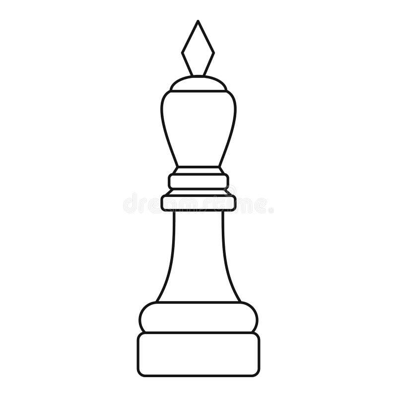 Icono blanco del pedazo del obispo, estilo del esquema stock de ilustración