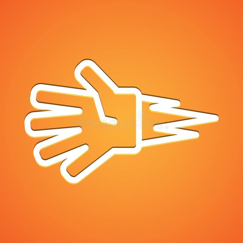 Icono blanco del piedra papel o tijera del juego de los niños en naranja de la pendiente ilustración del vector