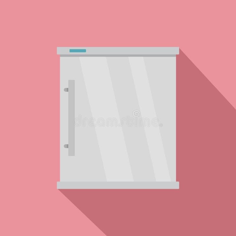 Icono blanco del refrigerador, estilo plano ilustración del vector