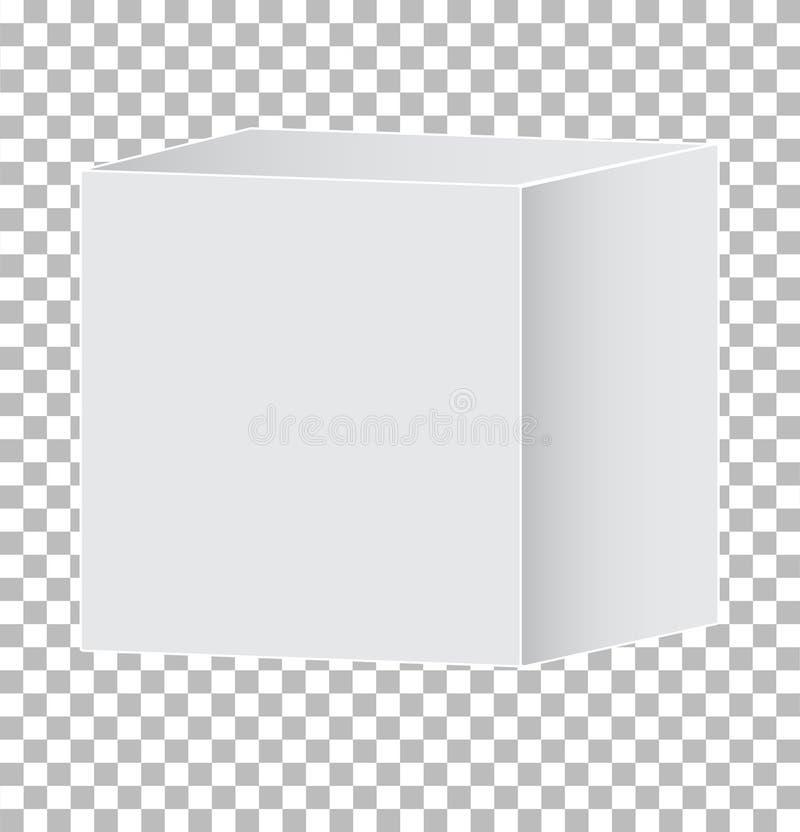 Icono blanco en blanco de la caja del cartón 3d en fondo transparente muestra gris de la caja 3d Estilo plano icono del icono de  libre illustration
