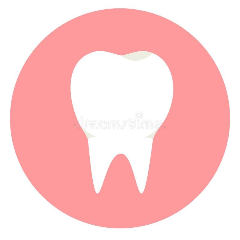 Icono blanco plano del diente Símbolo limpio dental de los dientes ilustración del vector