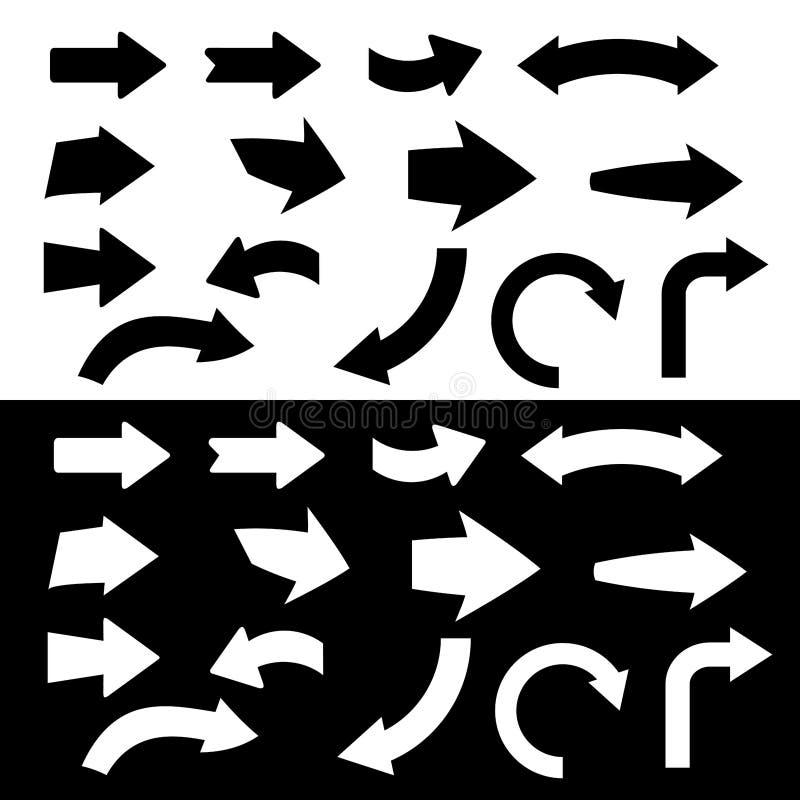 Icono blanco y negro de la flecha ilustración del vector