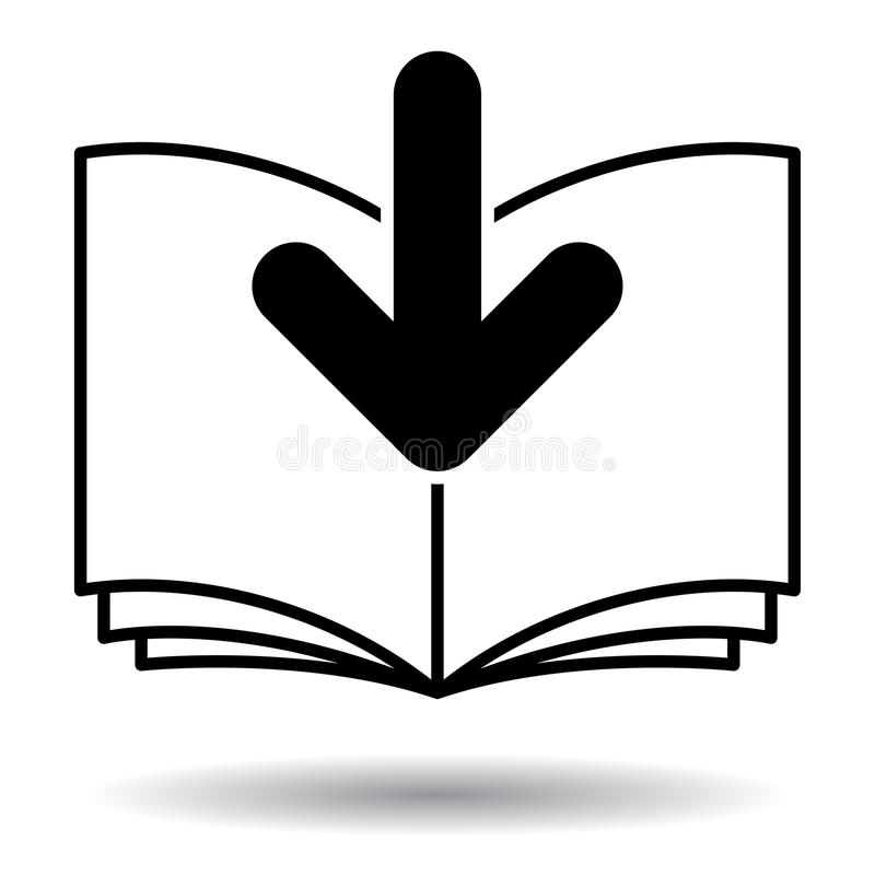 Icono blanco y negro de la transferencia directa de Ebook stock de ilustración