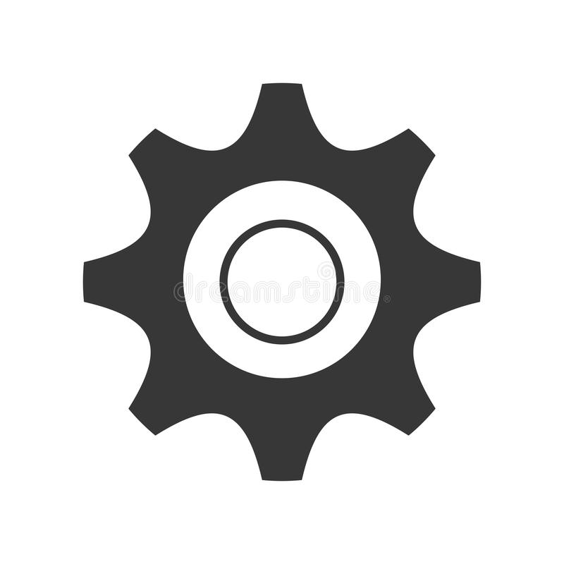 icono blanco y negro de los ajustes, gráfico stock de ilustración