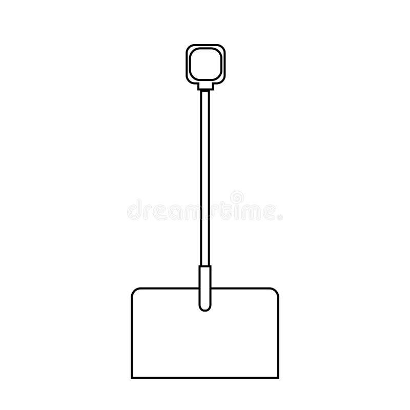 Icono blanco y negro de una pala hermosa de la construcci?n con una manija de madera para la retirada de la nieve Quitanieves del libre illustration