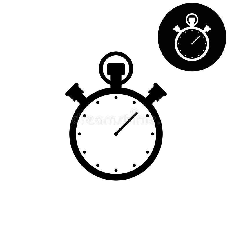 Icono blanco y negro del cronómetro - del vector ilustración del vector