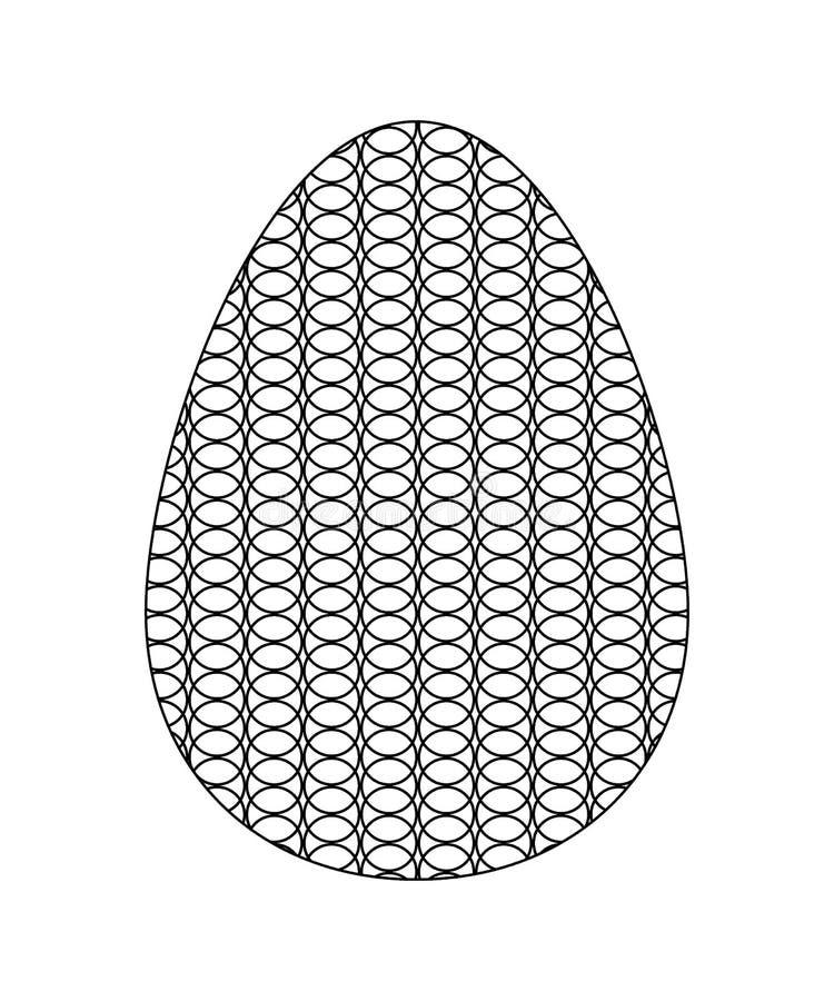 Icono blanco y negro del huevo adornado con una rejilla de círculos imagen de archivo