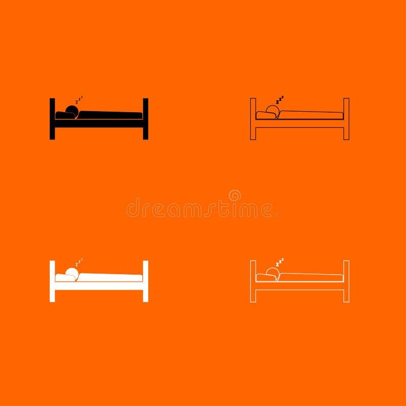 Icono blanco y negro del sistema el dormir del hombre ilustración del vector